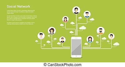 social network concept - flat style concept banner, social...