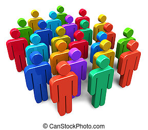 Social network concept: group of color human figures ...