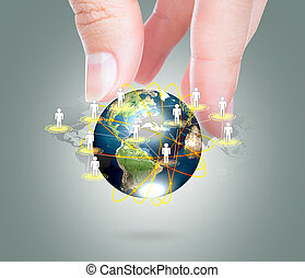 Social Network concept : hand hold earth of social network  (Elements of this image furnished by NASA)