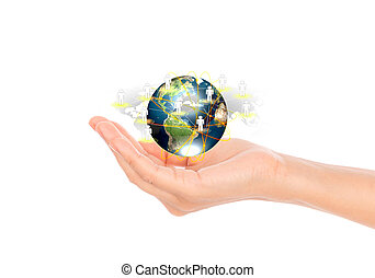Social Network concept : hand hold earth of social network (Elements of this image furnished by NASA) .