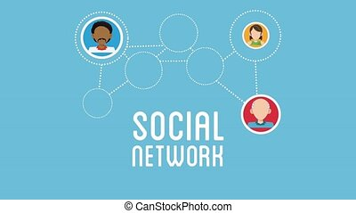 Social network concept HD animation - Social network people...