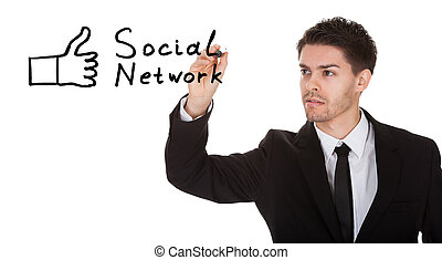 Social network concept on blackboard