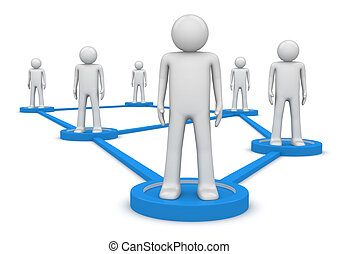 Social network concept. People standing on pedestals connected by lines. Isolated. One of a 1000 characters series.