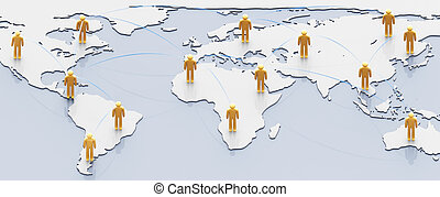 Social network concept: people with links over earth map