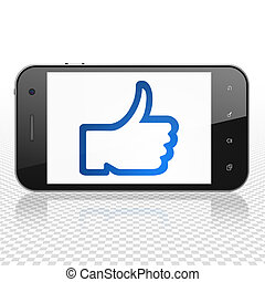 Social network concept: Smartphone with Thumb Up on display