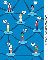 Social network concept - Social media network human...