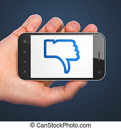 Social network concept: Thumb Down on smartphone - Social...