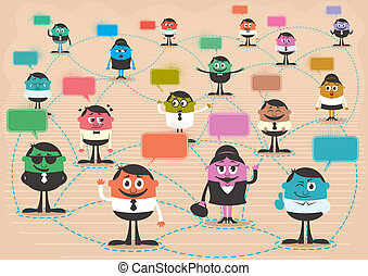 Conceptual illustration for social network. No transparency and gradients used. A4 proportions.