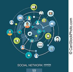 Social network connection concept. Abstract background with integrated circles and icons for digital, internet, media concepts