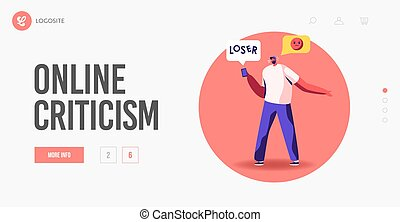 Social Network Criticism or Bullying Landing Page Template. Angry Aggressive Male Character Send Offensive Messages Online. Behavior in Cyberspace, Abuse and Blaming. Cartoon Vector Illustration
