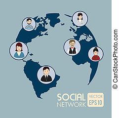 social network design over blue background vector...