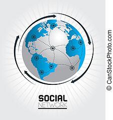 social network design over white background vector...