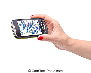 social network - detail on smartphone with 3d image