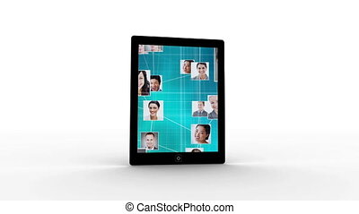 Social network - Digital animation of a flipping tablet with...