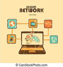 social network over cream  background vector illustration