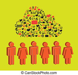 social network  over green background vector  illustration