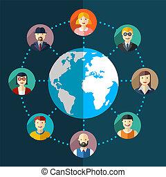 Social network flat illustration