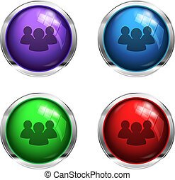 Social network glossy buttons: red, green, blue and purple