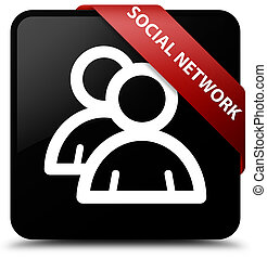 Social network (group icon) black square button red ribbon in corner