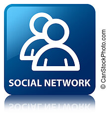 Social network (group icon) blue square button