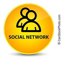 Social network (group icon) elegant yellow round button