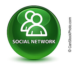 Social network (group icon) glassy soft green round button