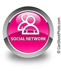 Social network (group icon) glossy pink round button