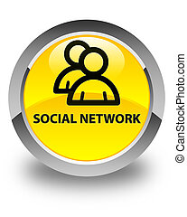 Social network (group icon) glossy yellow round button