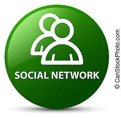Social network (group icon) green round button