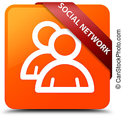 Social network (group icon) orange square button red ribbon in corner