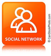 Social network (group icon) orange square button