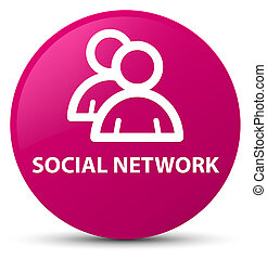 Social network (group icon) pink round button