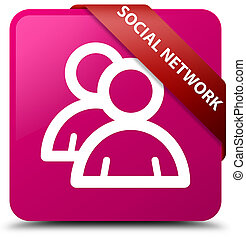 Social network (group icon) pink square button red ribbon in corner