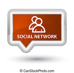 Social network (group icon) prime brown banner button