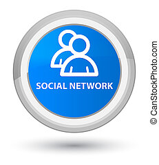 Social network (group icon) prime cyan blue round button