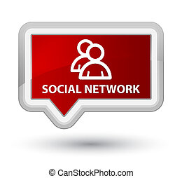 Social network (group icon) prime red banner button