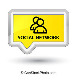 Social network (group icon) prime yellow banner button