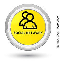 Social network (group icon) prime yellow round button