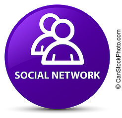 Social network (group icon) purple round button