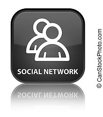 Social network (group icon) special black square button