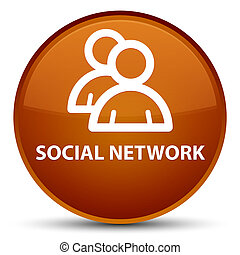 Social network (group icon) special brown round button