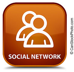 Social network (group icon) special brown square button
