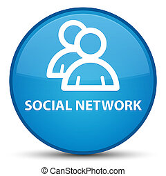 Social network (group icon) special cyan blue round button