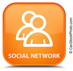Social network (group icon) special orange square button