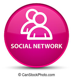 Social network (group icon) special pink round button
