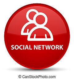 Social network (group icon) special red round button