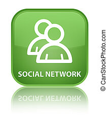 Social network (group icon) special soft green square button