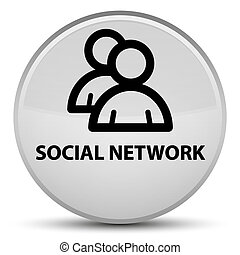 Social network (group icon) special white round button