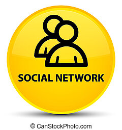 Social network (group icon) special yellow round button