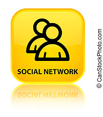 Social network (group icon) special yellow square button